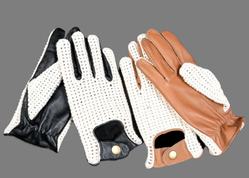 TAN BLACK BROWN MENS CLASSIC DRIVING GLOVES SOFT GENUINE REAL LAMBSKIN LEATHER