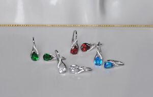 Echt-925-Sterling-Silber-Ohrringe-Ohrhaenger-Zirkonia-rot-crystal-blau-gruen-Nr419