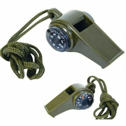 New 3 in1 Emergency Survival Gear Camping Hiking Whistle Compass Thermometer FT