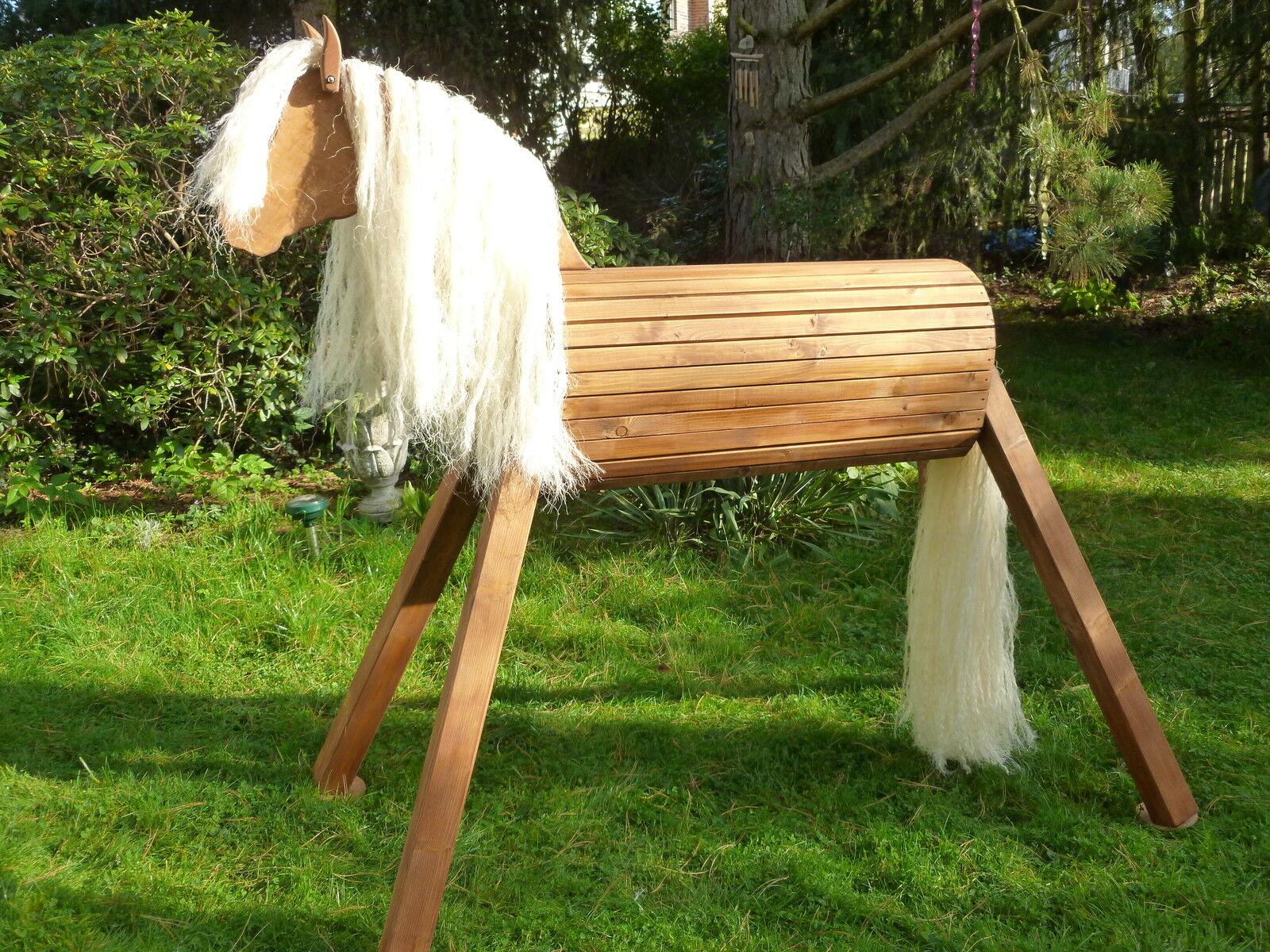 Mini Holzpferd Voltigierpferd Holzpony Pferd Pony neu Fell