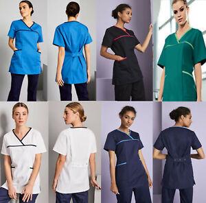 Medical Scrub Men Women Top Tunic Uniform Nurse Hospital Tops Medical Vest