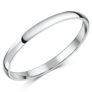 Details About 9ct White Gold Ring Light Weight D Shaped Wedding Band 2mm Gold Ladies Ring