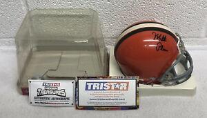 Milt Plum Signed Cleveland Browns Riddell Mini Football Helmet / Tristar