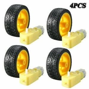 4 Pcs For Arduino Smart Car Robot Plastic Tire Wheel with DC 3-6V Gear Moto N6U9