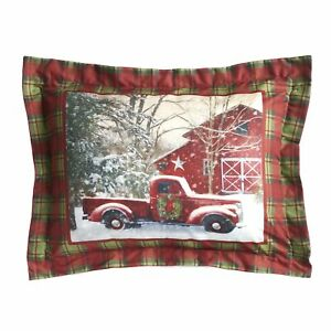 Home for the Holidays Red and Green Plaid Holiday Truck Pillow Sham