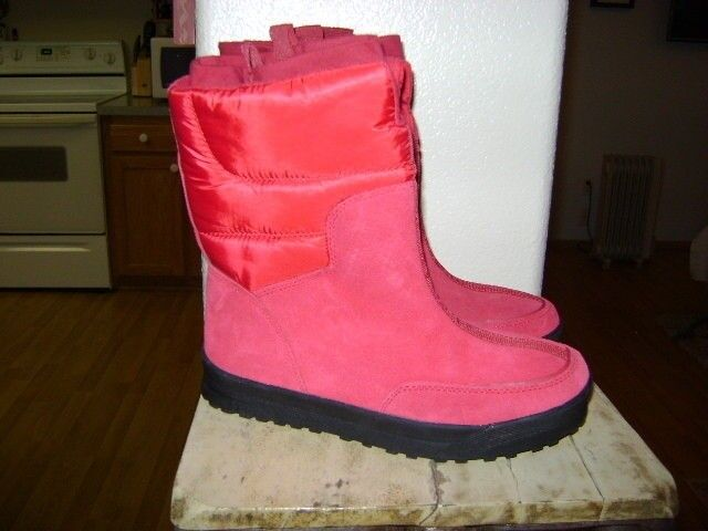 LANDS' END RED SUEDE WINTER BOOTS   406465  SZ 7