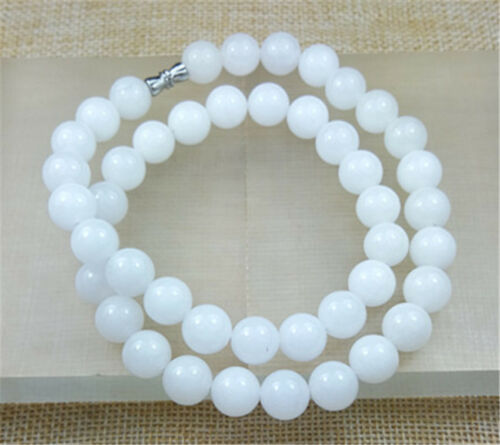 """2PCS 10MM 100/% Natural WHITE Jade Beads Necklace 18/"""""""