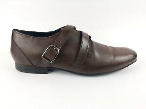 Topman-Cuir-Marron-Monkstrap-Chaussures-UK-9-EU-43