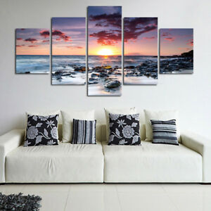 5Pcs-Set-Unframed-Sunset-Sea-Wall-Art-Canvas-Picture-Print-Painting-Home-Decor