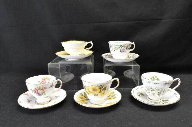 Royal Vale Colclough Standard Grosvenor Lot of 5 Cups & Saucers Various Patterns