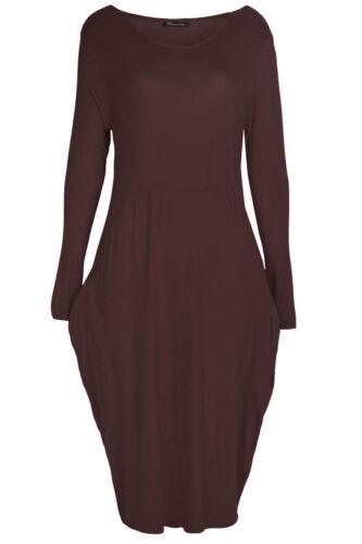 Womens Ladies Italian Drape Long Sleeve Lagenlook Side Pockets Baggy Midi Dress