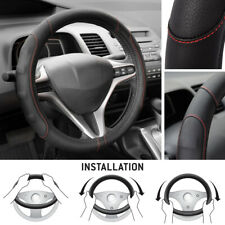 Synthetic Leather Steering Wheel Cover Black w/ Red Stitching Sport Grip Small
