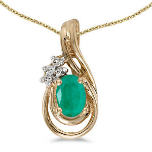 "10k Yellow Gold Oval Emerald And Diamond Teardrop Pendant with 16"" Chain"