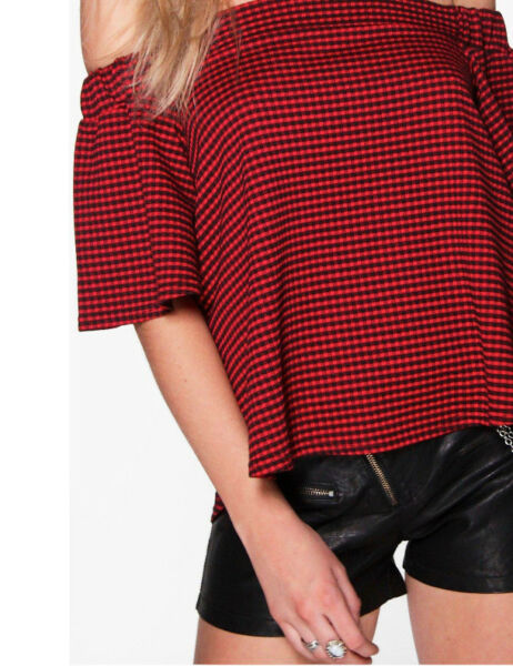 21534e3daa0f5 Boohoo Red & Black Gingham Bardot Off shoulders Top Size 6 10 B1-40. Hover  to zoom