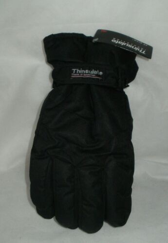 Mens Ski gloves black THINSULATE LINED REINFORCED PALM BLACK S//M