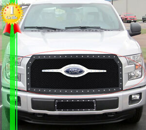Fits 2005 2007 Ford Excursion F250 Logo Show Stainless Black Mesh Rivet Grille Ebay
