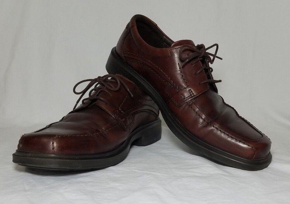 Ecco Mens 45D Oxfords Comfort System Foam Dress shoes Brown Lace Leather