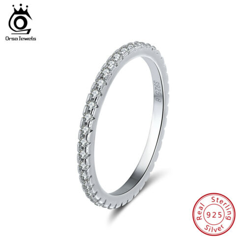 925 Sterling Silver Cubic Zircon Wedding Band Eternity Ring Engagement Size 5-11