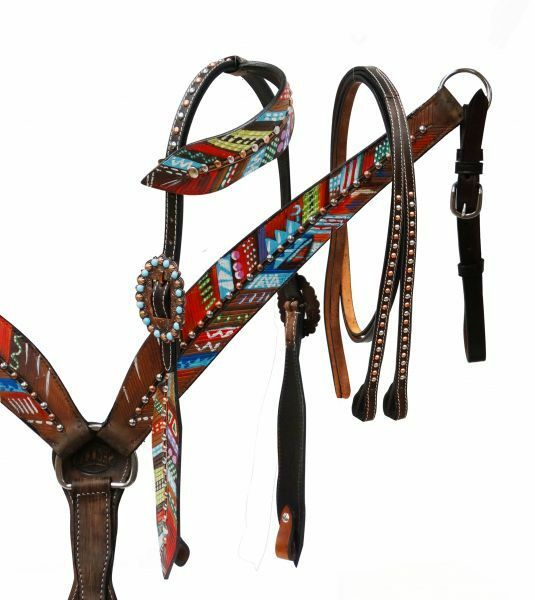 SHOWMAN ® Peint Plumes assortis et Breast collar Set.