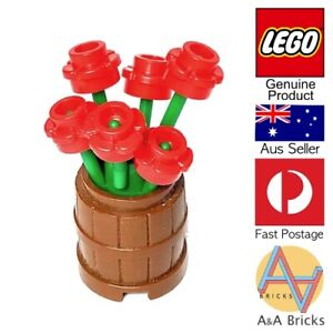 Genuine-LEGO-Flower-Pot-Barrel-with-Red-Flowers-All-new-parts-MOC
