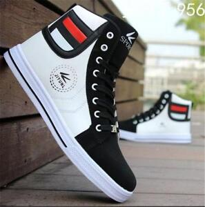 Mens-Round-Toe-High-Top-Sneakers-Casual-Lace-Up-Skateboard-Shoes-AU-Size-Suave