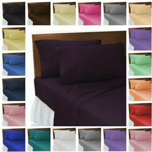 Poly-Algodon-Suave-tenida-unicolor-Flat-Sheets-sabanas-sabanas-19-Colores
