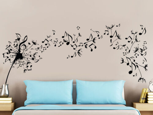 Dandelion Wall Decal Flower Music Musical Notes Floral Plants Home Decor NS971