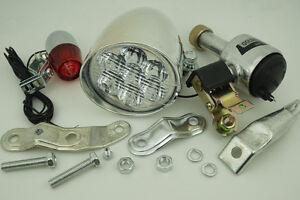Vintage-Cycling-Bike-Bicycle-Head-Tail-Lamp-Light-Friction-Generator-Dynamo-Kit