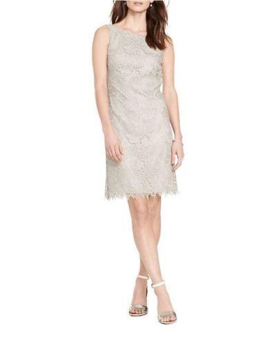Lauren Ralph Lauren Woman Sleeveless Metallic Lace Sheath Dress Größe 16