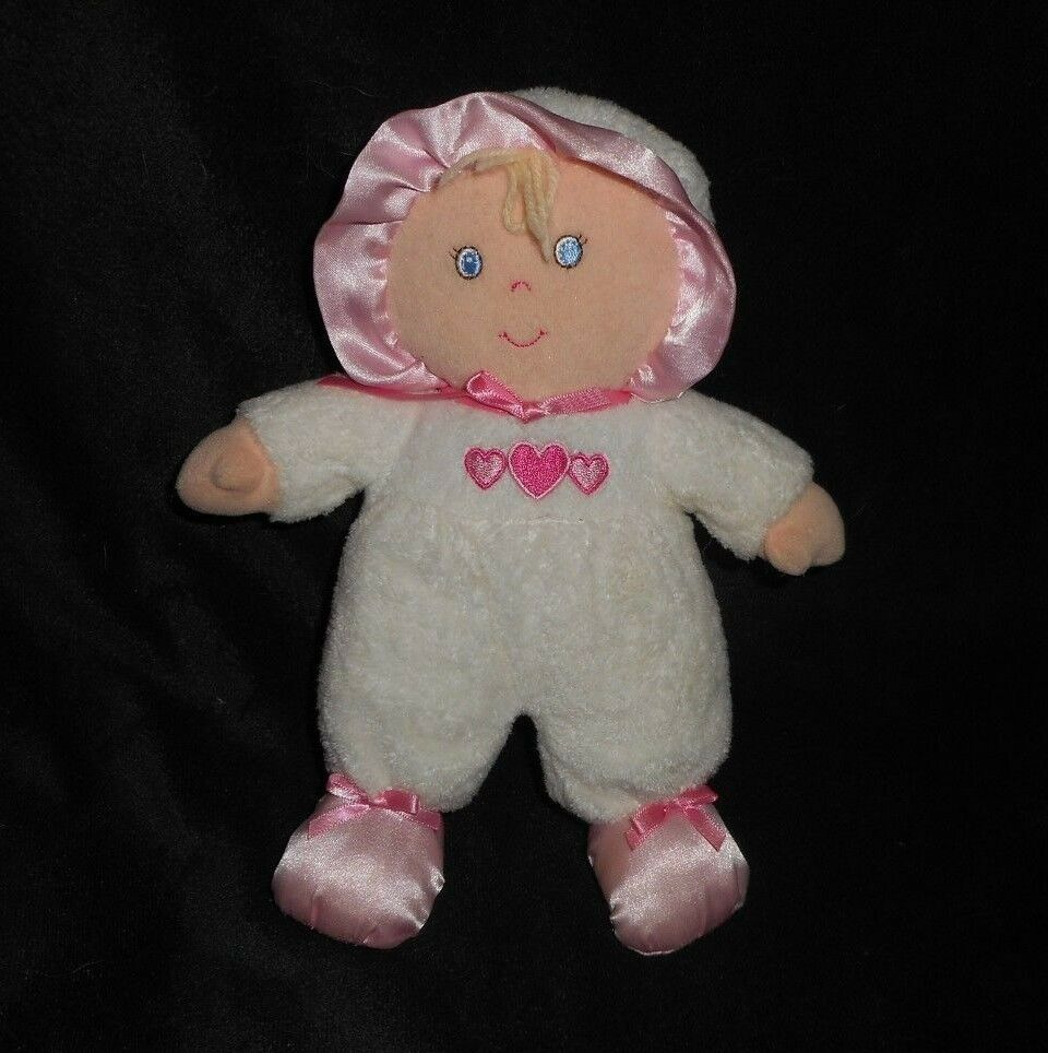 9  BABIES R US 2013 BABY DOLL WHITE PINK HEARTS RATTLE STUFFED ANIMAL PLUSH TOY