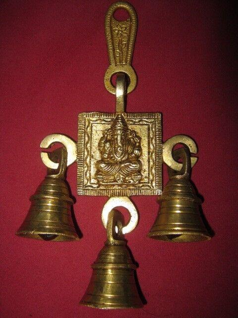 Brass Hanging Bells Hindu God Ganesha Door Home Decor Religious Puja