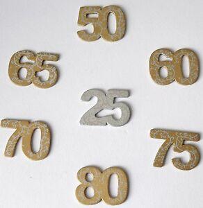 Jubilaumszahlen 25 50 60 65 70 75 80 Tischdeko Geburtstag Wooden