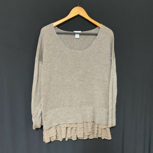 Soft Surroundings brown sweater with tiered skirte