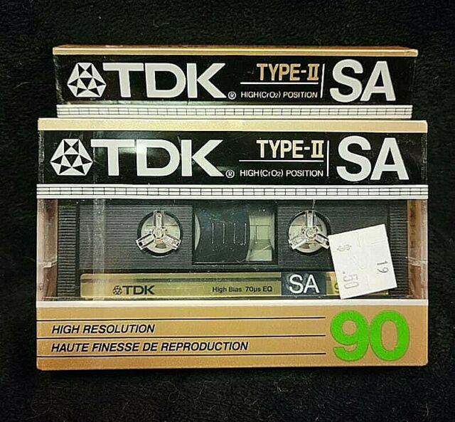 2 VINTAGE TDK SA 90 MINUTE SUPER HIGH RESOLUTION TYPE II AUDIO CASSETTE TAPE NOS