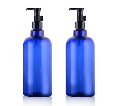 2PCS 500ml 16.66Oz. Refillable Empty PET Plastic Pump Bottles Jars Containers...