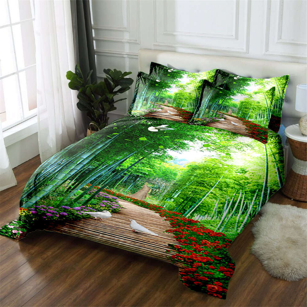 Forest Breath 3D Printing Duvet Quilt Doona Covers Pillow Case Bedding Sets