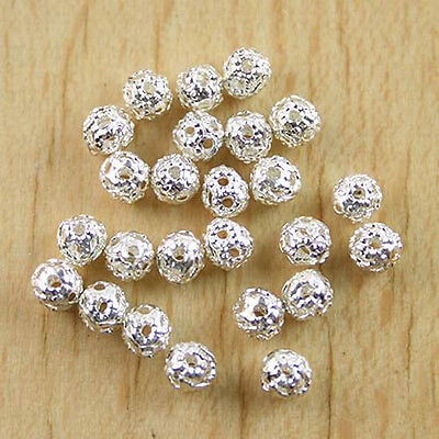 100pcs silver-tone craft HOLLOW spacers beads h0417