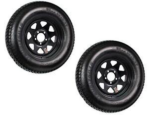 2-Pk-Trailer-Tire-Rim-ST205-75D15-15-in-Load-C-5-Lug-Black-Spoke-Wheel