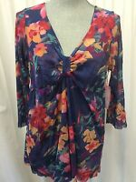 Sweet Pea Blouse Top Shirt Mod Floral Plus Size 2x X Long Sleeve Floral