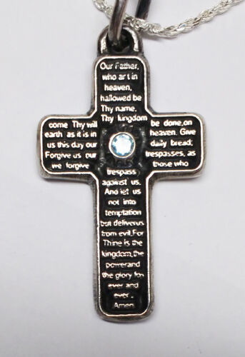 Details about  /Lord's Prayer Silver Cross With Birth Stone English