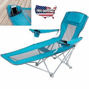 reclining folding camping chair with footrest stool beach chaise outdoor lounger. Black Bedroom Furniture Sets. Home Design Ideas