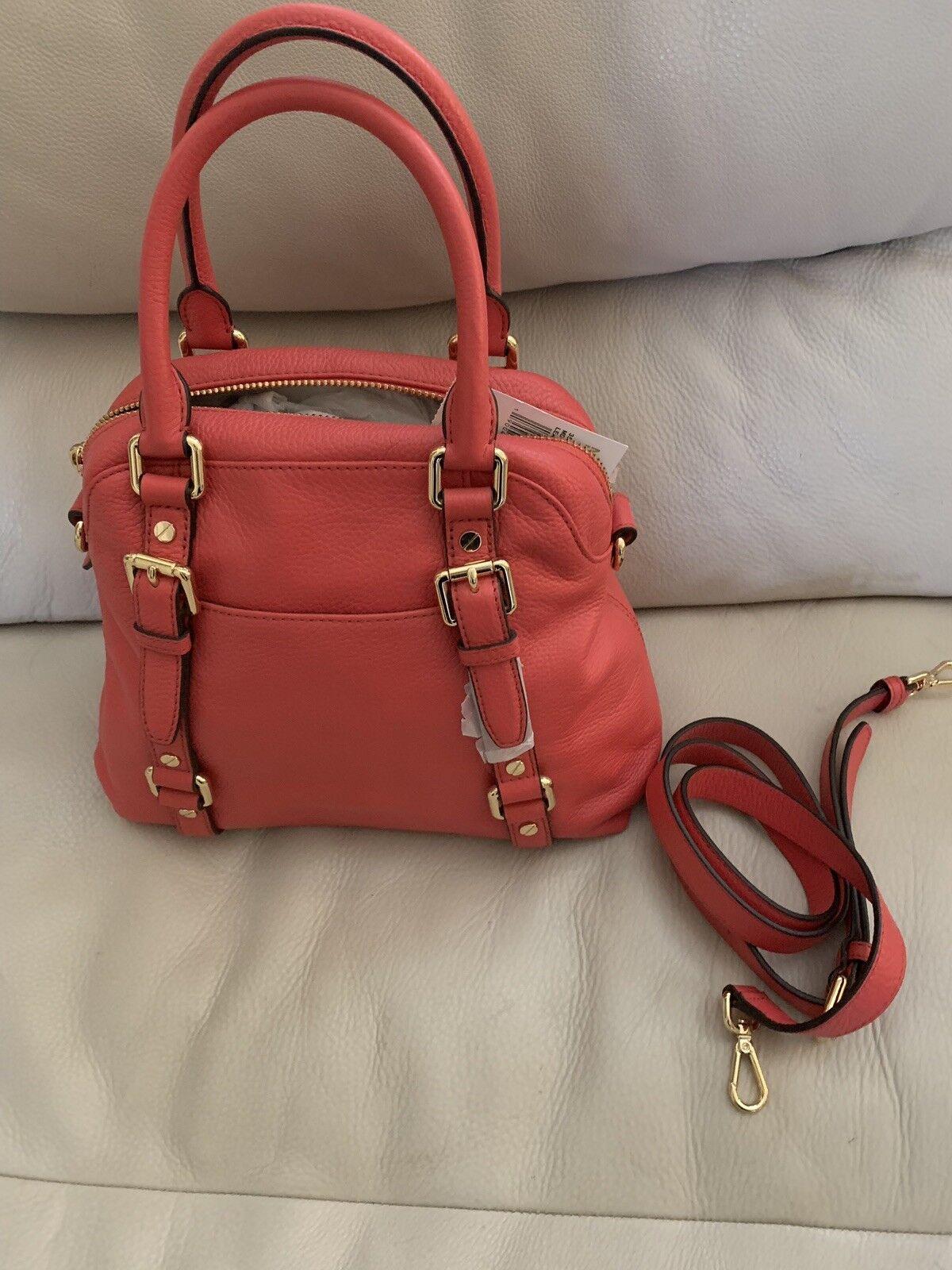 75296b8c77 Michael Kors Bedford MD Bowling Leather Satchel Handbag Watermelon for sale  online