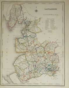 1845 Antique County Map Lancashire Manchester Bolton Rochdale Chorley Preston Ebay