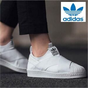 best service a9e57 ba450 Details about ADIDAS ORIGINALS SUPERSTAR SLIP ON ATHLETIC SHOES WHITE  S81338 all sizes