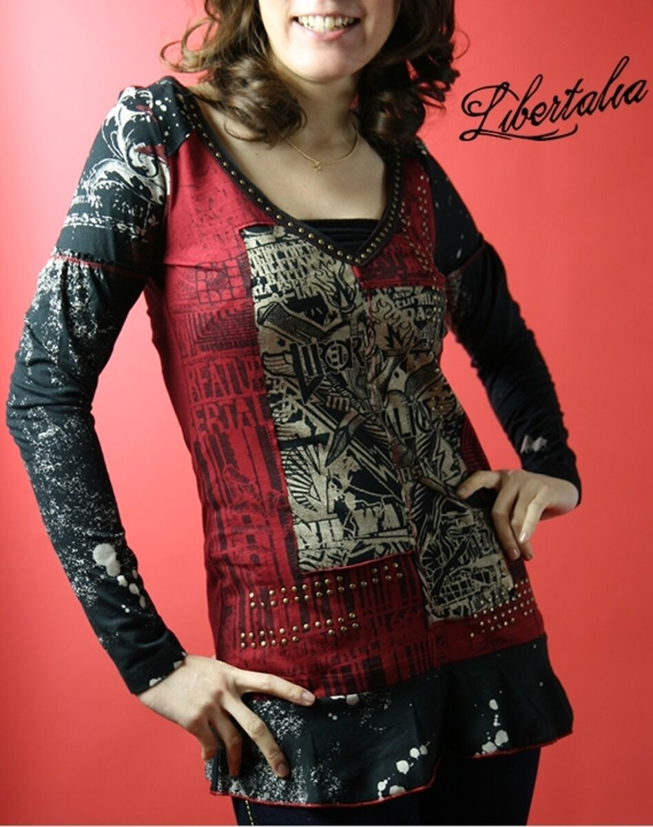 Libertalia Cotton Jersey Metalic Printed Top Hoodie LIB1518