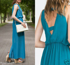 ZARA SIZE M / 38 40 LONG FLOWING MAXI DRESS OPEN BACK MAXIKLEID KLEID RÜCKENFREI