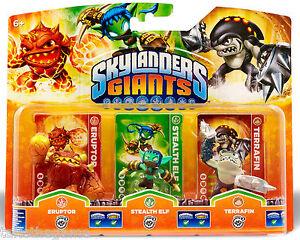 Skylanders-Giants-Triple-Pack-F-ERUPTOR-STEALTH-ELF-TERRAFIN-BNIP
