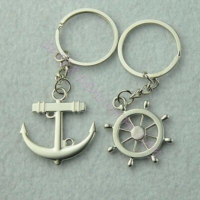 2PCS Love Anchor Rudder Couple Keychain Keyring Keyfob Valentine Lover Gift