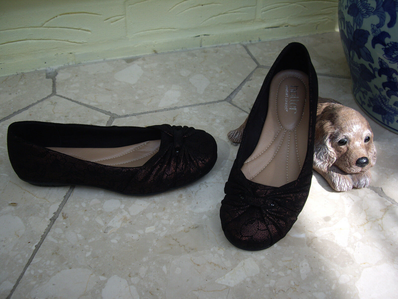HOTTER BLACK LACE OVERLAID SHOES COPPER NUBUCK LEATHER WITH LACE APPLEDORE  4