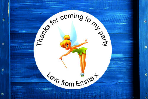 Personalised Tinker Bell Round Gift Bag, Sticker Label Sweet Cone in 4 Sizes